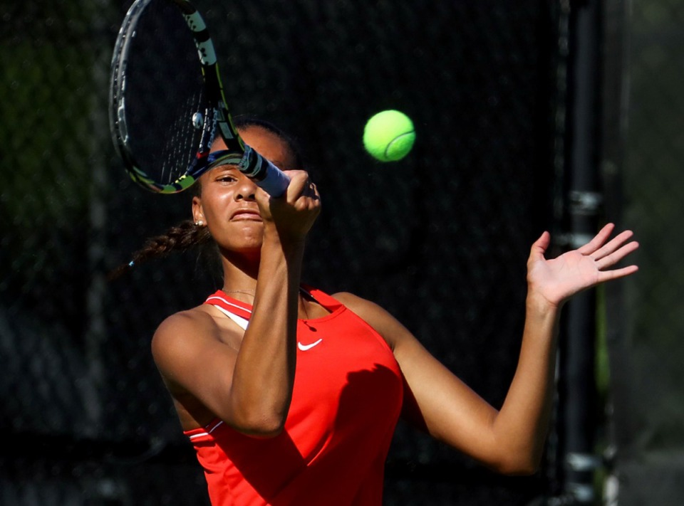 <strong>St. Benedict at Auburndale's Jolie Taty keeps her eye on the ball during a tennis match at Memphis University School May 5, 2021.</strong> (Patrick Lantrip/Daily Memphian)