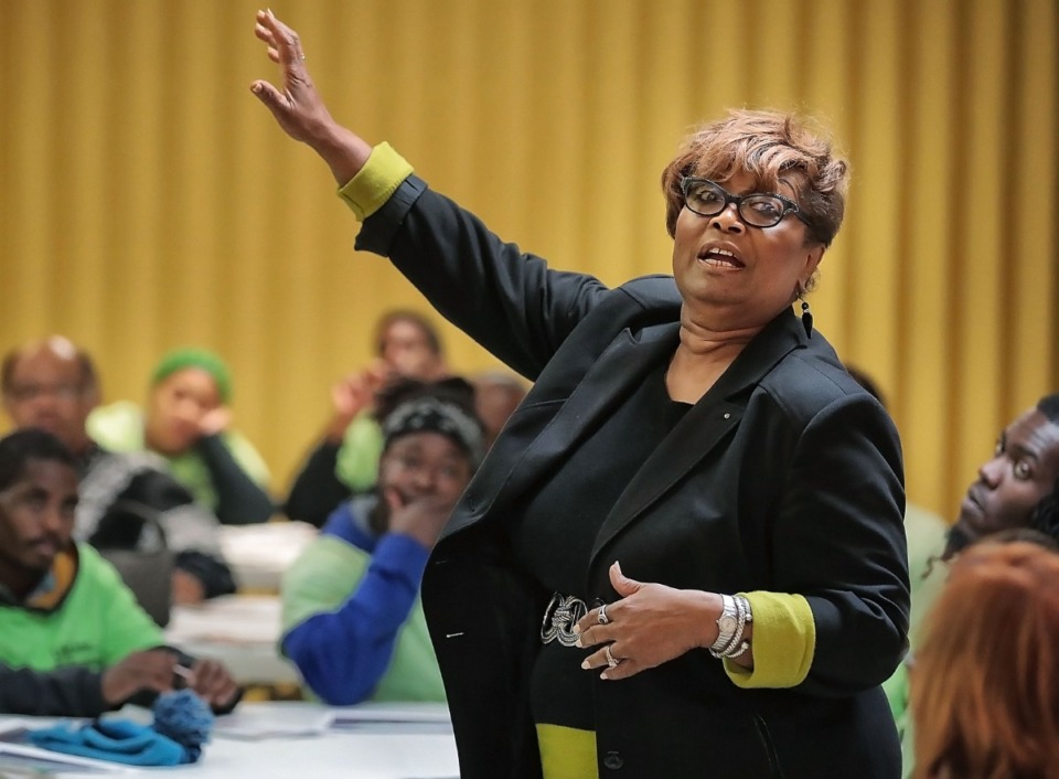 <strong>Beverly Robertson, CEO of the Greater Memphis Chamber talks to Frayser residents during a visit to the Exchange Club at Impact Church on Oct. 31, 2019.</strong> (Daily Memphian file)