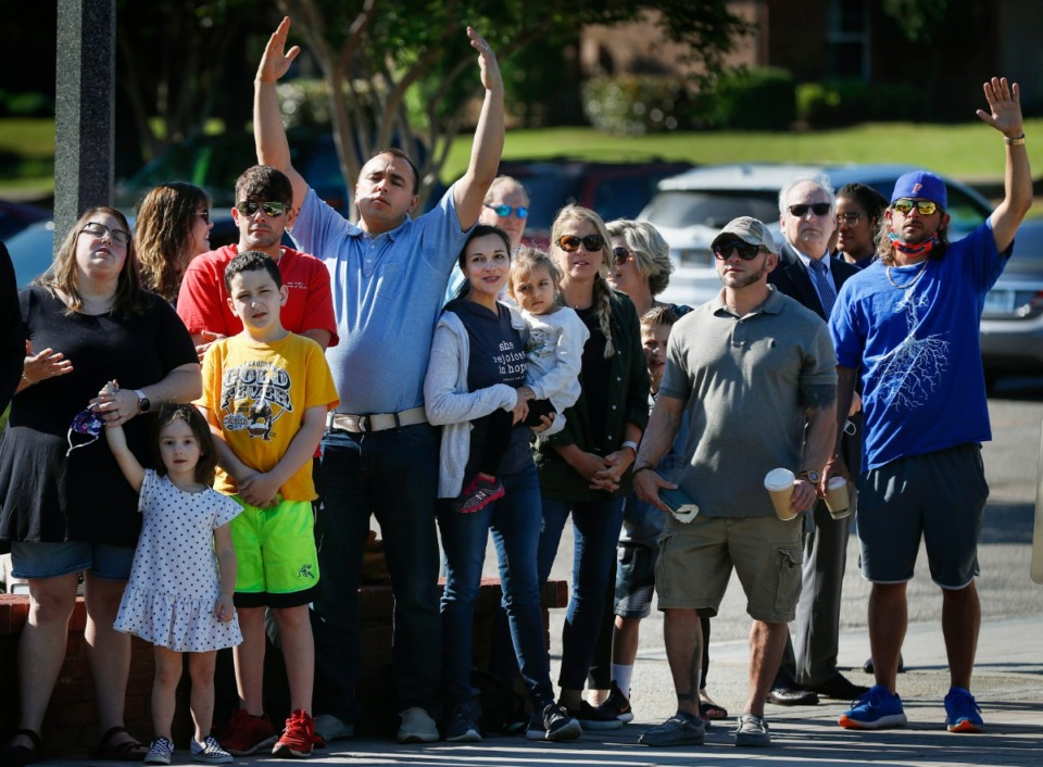 <strong>On National Day of Prayer participants worship while listening to area pastors on Thursday, May 6, 2021 in front of Collierville Town Hall.</strong> (Mark Weber/The Daily Memphian)