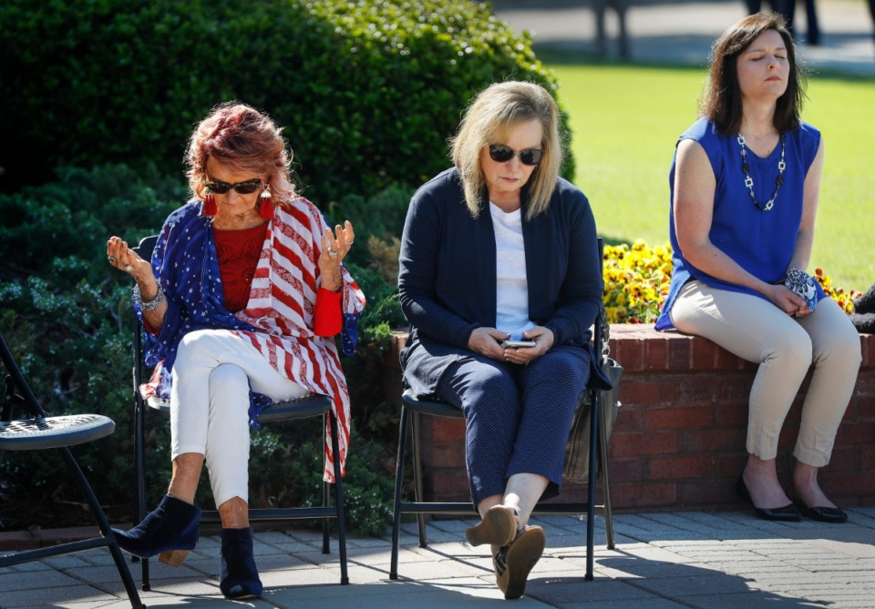 <strong>About 90 civic leaders and residents gathered in front of Collierville Town Hall on Thursday for an event organized by Central Church.</strong> (Mark Weber/The Daily Memphian)