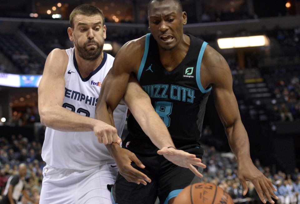 <span><strong>Memphis Grizzlies center Marc Gasol, left, and Charlotte Hornets center Bismack Biyombo (8) struggle for control of the ball Wednesday, Jan. 23, 2019, in Memphis, Tenn.</strong> (AP Photo/Brandon Dill)</span>