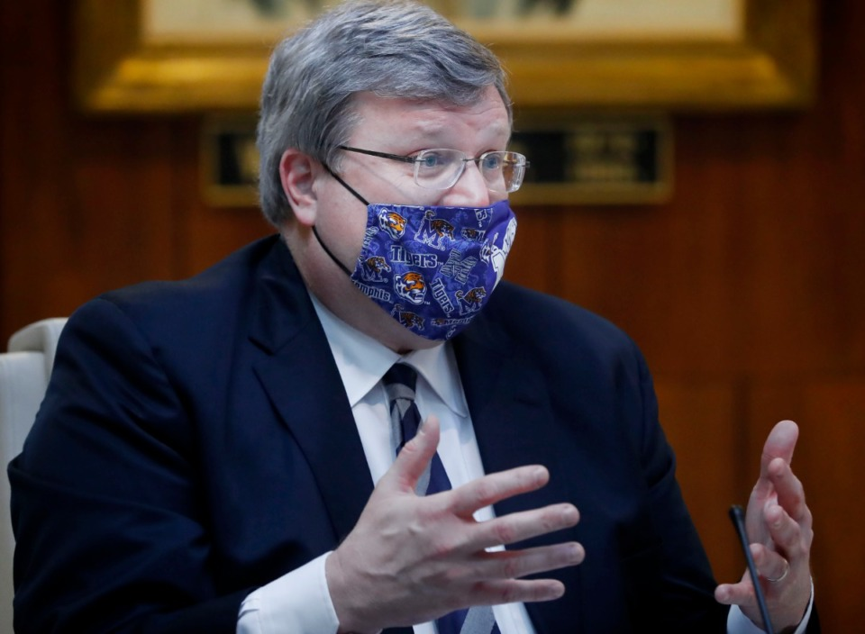<strong>Memphis Mayor Jim Strickland, seen here in 2020, is proposing bonus pay for police and firefighters over the next three fiscal years.</strong> (Mark Weber/Daily Memphian)
