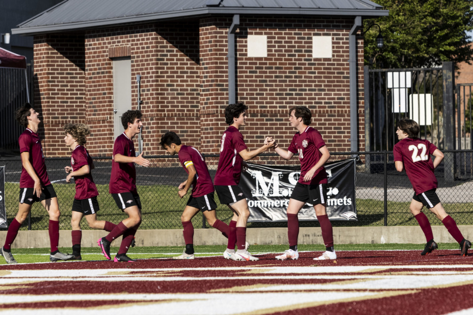 <strong>Evangelical Christian School players celebrate a goal by Winston Merriman during Friday evening&rsquo;s game against Northpoint Christian School.</strong> (Brad Vest/Special to The Daily Memphian)