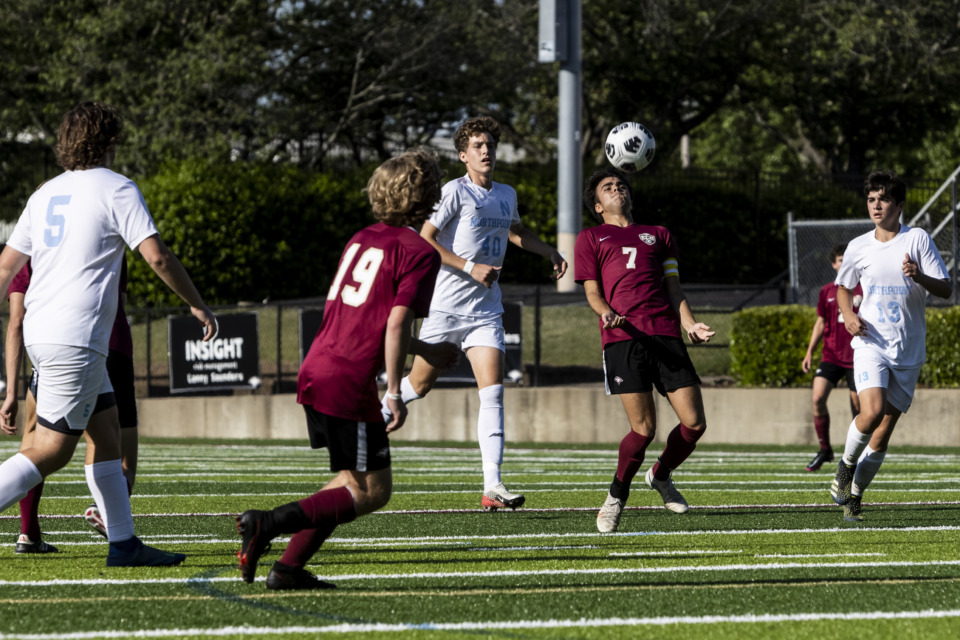 <strong>Evangelical Christian School&rsquo;s Cristian Salazar tries to control the ball May 7 against Northpoint.</strong> (Brad Vest/Special to The Daily Memphian)