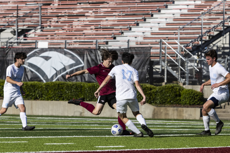 <strong>Evangelical Christian School&rsquo;s Luke Ricketts attempts a shot on goal during the May 7 game against Northpoint.</strong> (Brad Vest/Special to The Daily Memphian)