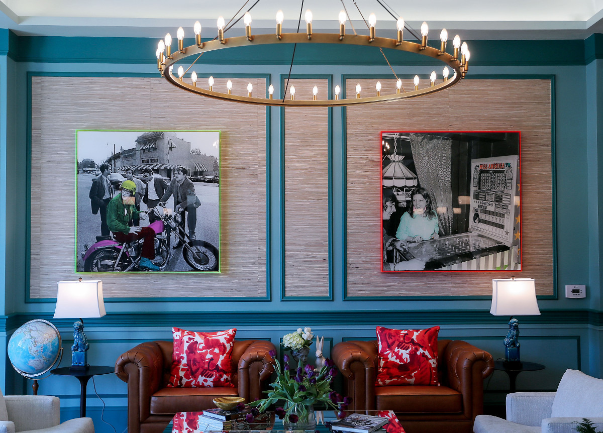 <strong>Art harkening to the early days of Overton Square hangs in the lobby of The Memphian Hotel.</strong> (Patrick Lantrip/Daily Memphian)