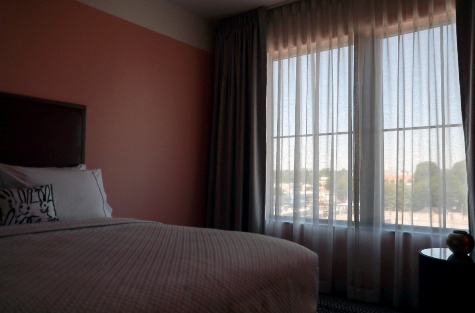 <strong>A hotel room in The Memphian Hotel overlooks Overton Square.</strong> (Patrick Lantrip/Daily Memphian)