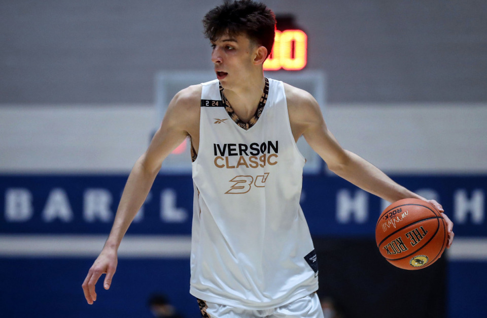 <strong>Number one overall recruit Chet Holmgren (34) brings the ball up the court during the 2021 Iverson Classic at Bartlett High May 8, 2021.</strong> (Patrick Lantrip/Daily Memphian)
