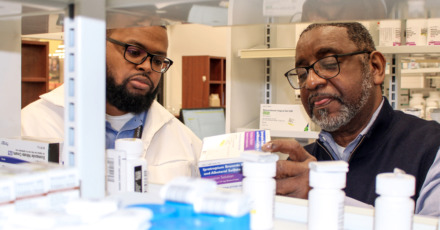 <strong>Terrel Chapman (right) was the longtime pharmacist of the Kroger on Third Street. When it closed, he was displaced from the large customer base he had served for decades. Regional One is bringing Chapman back as the lead pharmacist of its new pharmacy at the Cash Saver. He will be joined by pharmacist Brandon Slaughter.</strong> (Photo courtesy of Regional One Health)