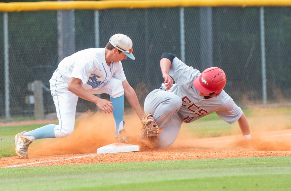 <strong>ECS's Peter Nearn slides safely into third base as Northpoint's Rob Hayes tries to tag him out at St. George's Independent School, Monday, May 10, 2021.</strong> (Greg Campbell/Special to The Daily Memphian)