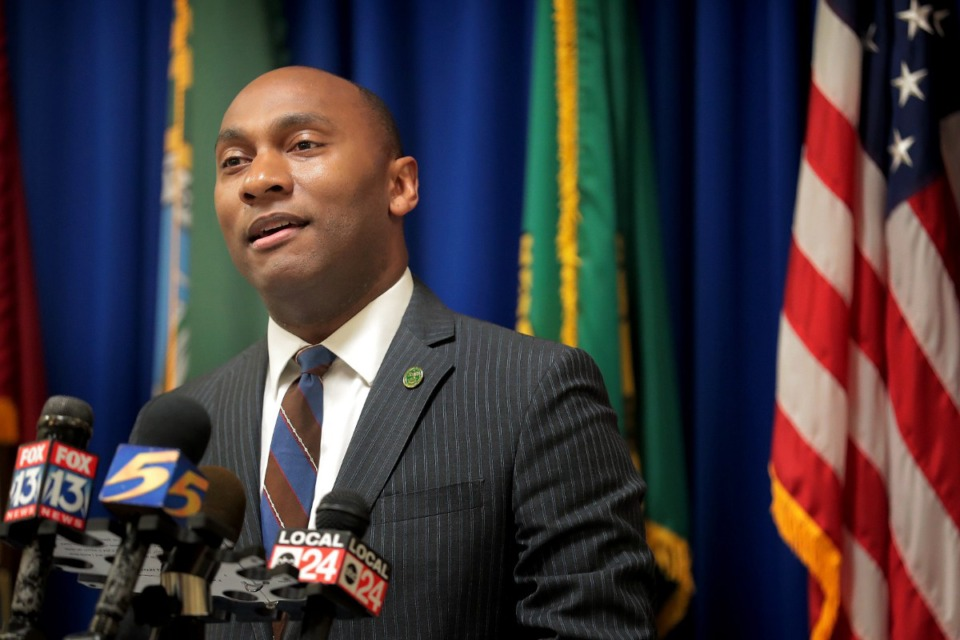<strong>Shelby County Mayor Lee Harris announced a state of emergency for the county due to the COVID-19 virus during a press briefing on March 19, 2020.</strong> (Jim Weber/Daily Memphian file)