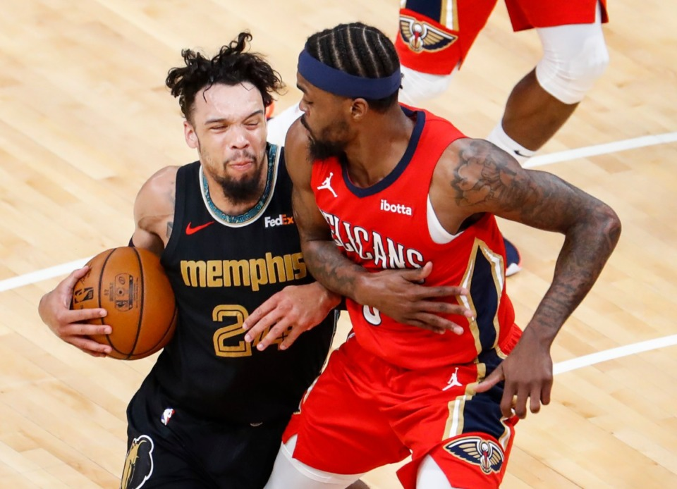 <strong>Memphis Grizzlies guard Dillon Brooks (left) drives the lane against New Orleans Pelicans defender Naji Marshall (right) during action on Monday, May 10, 2021.</strong> (Mark Weber/The Daily Memphian)