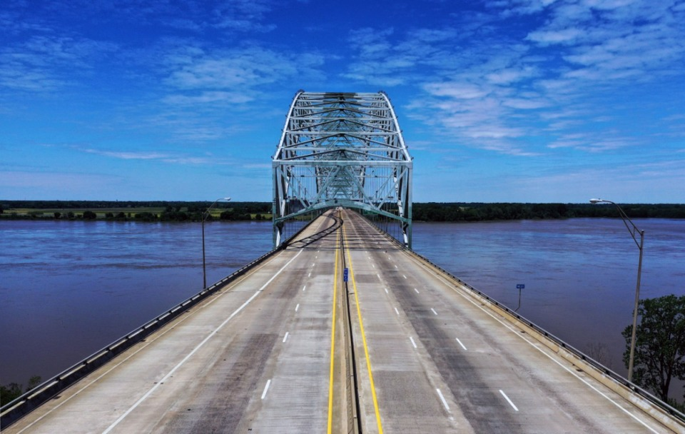 <strong>The I-40 bridge sits empty May 12, 2021, while TDOT crews assess how severe damage to the bridge is.</strong> (Patrick Lantrip/Daily Memphian)