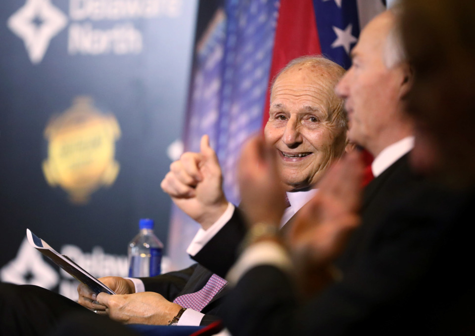 <strong>Jeremy Jacobs, chairman of Delaware North, celebrates the announcement on Thursday, Jan. 24, that Southland Gaming &amp; Racing will begin a $250 million expansion. It will include a new casino and high-rise hotel complex.</strong> (Houston Cofield/Daily Memphian)