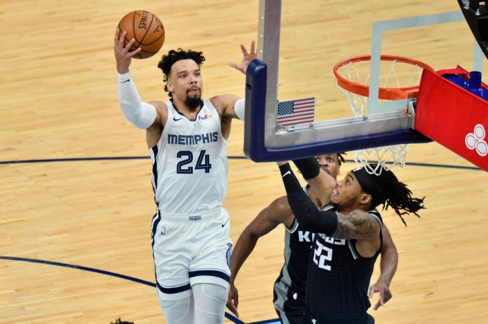 <strong>Memphis Grizzlies forward Dillon Brooks (24) shoots against Sacramento Kings center Richaun Holmes (22) in the first half of an NBA basketball game Thursday, May 13, 2021, at FedExForum.</strong> (Brandon Dill/AP)