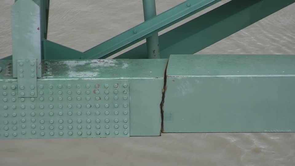 <strong>The Hernando DeSoto Bridge may have been damaged since 2019</strong>. (Courtesy Tennessee Department of Transportation)