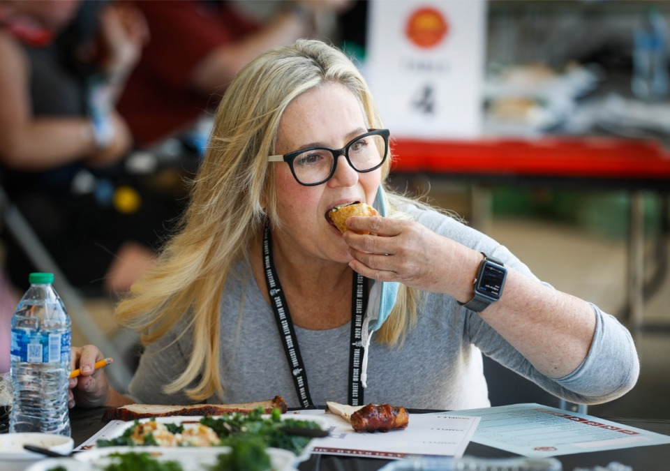 <strong>The Daily Memphian food columnist Jennifer Biggs judges turkey entrees during the Memphis in May World Championship Barbecue Cooking Contest on Thursday, May 13, 2021 at Tom Lee Park.</strong> (Mark Weber/The Daily Memphian)
