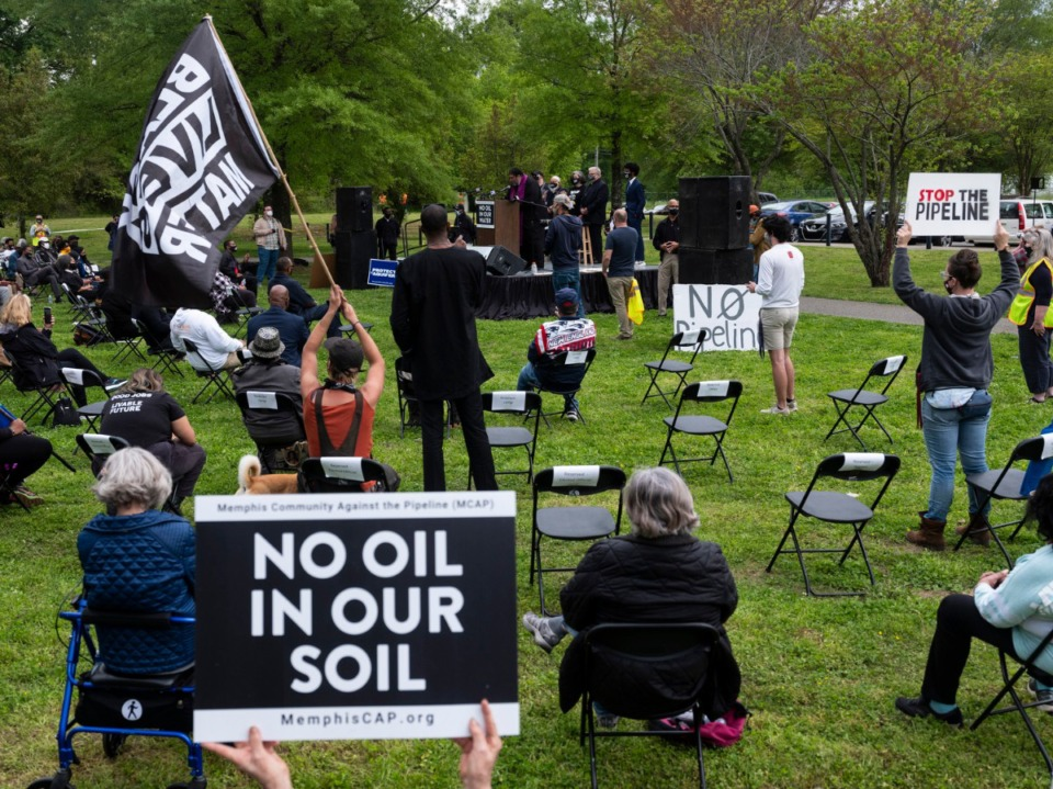 <strong>Protesters (in a file photo) gathered at Alonzo Weaver Park in Southwest Memphis to speak out against the Byhalia Pipeline. Now the company has dropped its eminent domain lawsuit against some residents, but a judge says it&rsquo;s not over yet.</strong> (Brad Vest/Special to Daily Memphian)