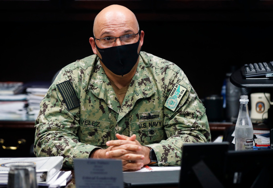 <strong>Rear Admiral, U.S. Navy Commander Dennis Velez over Navy Recruiting Command discuss the impact of the pandemic on recruiting as a snapshot into the wider operations of the base on Wednesday, May 5, 2021, in Millington.</strong> (Mark Weber/The Daily Memphian)