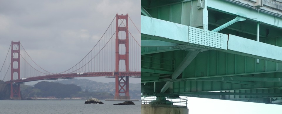 <strong>The Golden Gate Bridge (left, in an AP photo) is a perfect amalgam of delicacy and power. Our bridge (in an Arkansas Department of Transportation photo) needs some work.</strong>