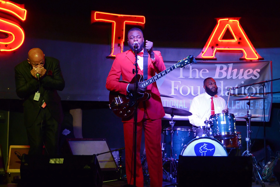 <strong>Vicksburg, Mississippi's Keith Johnson &amp; the Big Muddy competing at Alfred's on Beale in the quarterfinals of the 35th International Blues Challenge.</strong> (Ty Randall/Courtesy of the Blues Foundation)