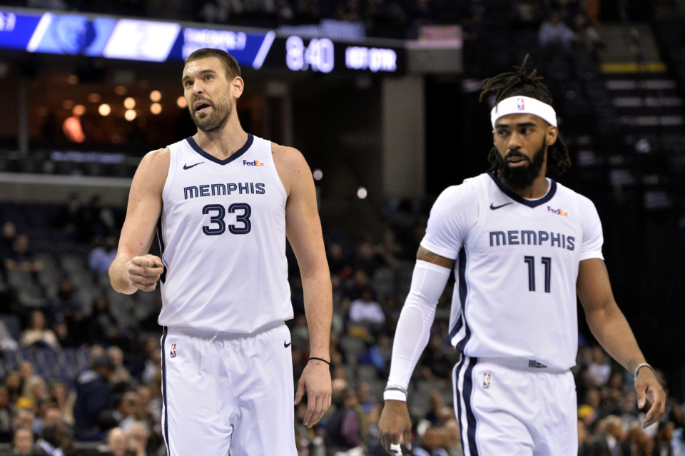 <strong>Memphis Grizzlies center Marc Gasol (33) and guard Mike Conley (11) stand on the court between plays in the first half of an NBA basketball game against the Charlotte Hornets Wednesday, Jan. 23, 2019, in Memphis, Tenn.</strong> (AP Photo/Brandon Dill)