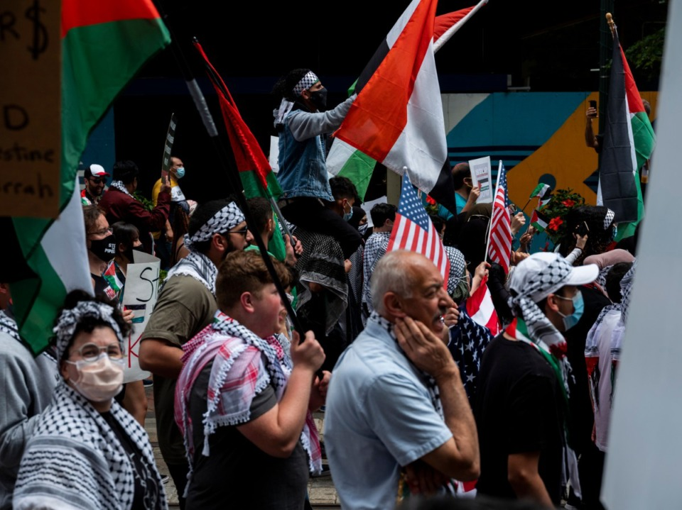 <strong>Hundreds of people march in support of Palestine from Memphis City Hall to the National Civil Rights Museum and back Sunday, May 16, 2021 in Memphis.</strong> (Brad Vest/Special to The Daily Memphian)