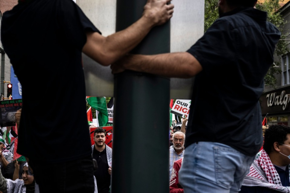 <strong>Hundreds of people march in support of Palestine from Memphis City Hall to the National Civil Rights Museum and back Sunday, May 16, 2021.</strong> (Brad Vest/special to The Daily Memphian)