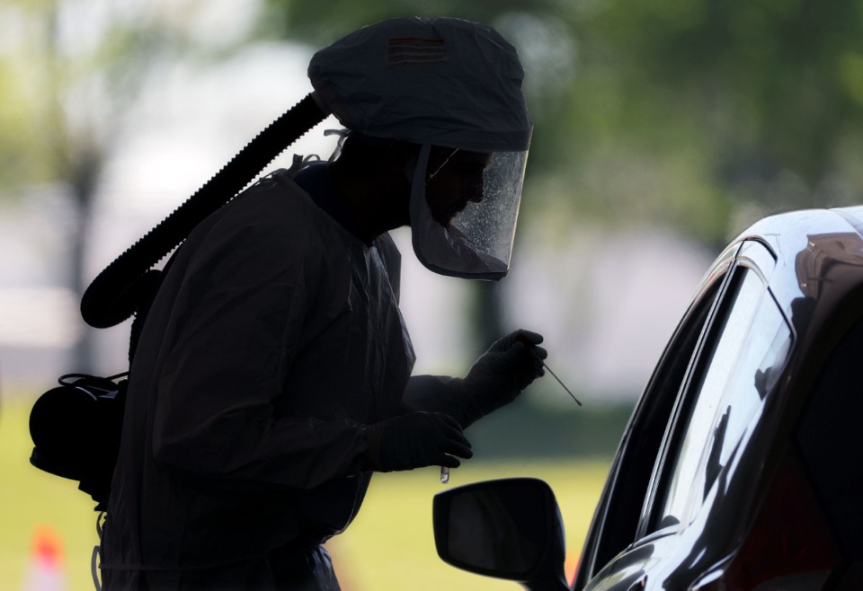 <strong>A medical worker prepares to test a patient for COVID-19 at the drive-thru testing facility at Tiger Lane April 10, 2020.</strong> (Patrick Lantrip/Daily Memphian)