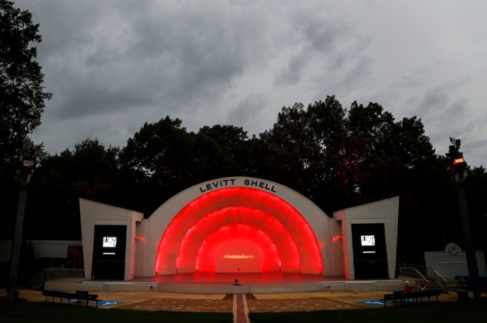 """<div class=""""&rdquo;Lightbox"""" data-paragraph-offset=""""&rdquo;-1&rdquo;""""><figure class=""""Lightbox__figure""""><figcaption><strong>The Levitt Shell is bathed in red light on Tuesday, Sept. 1, 2020.&nbsp;</strong>(Daily Memphian file)</figcaption></figure></div>"""
