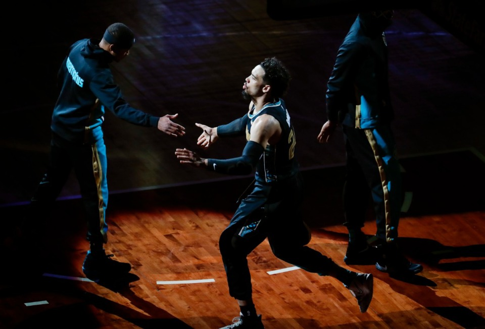 <strong>Grizzlies guard Dillon Brooks is introduced before taking on the San Antonio Spurs on May 19 at FedExForum.</strong> (Mark Weber/The Daily Memphian)