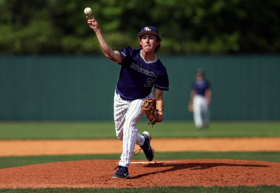 <strong>St. Benedict pitcher John Michael McGee throws against Briarcrest on May 19.</strong> (Patrick Lantrip/Daily Memphian)