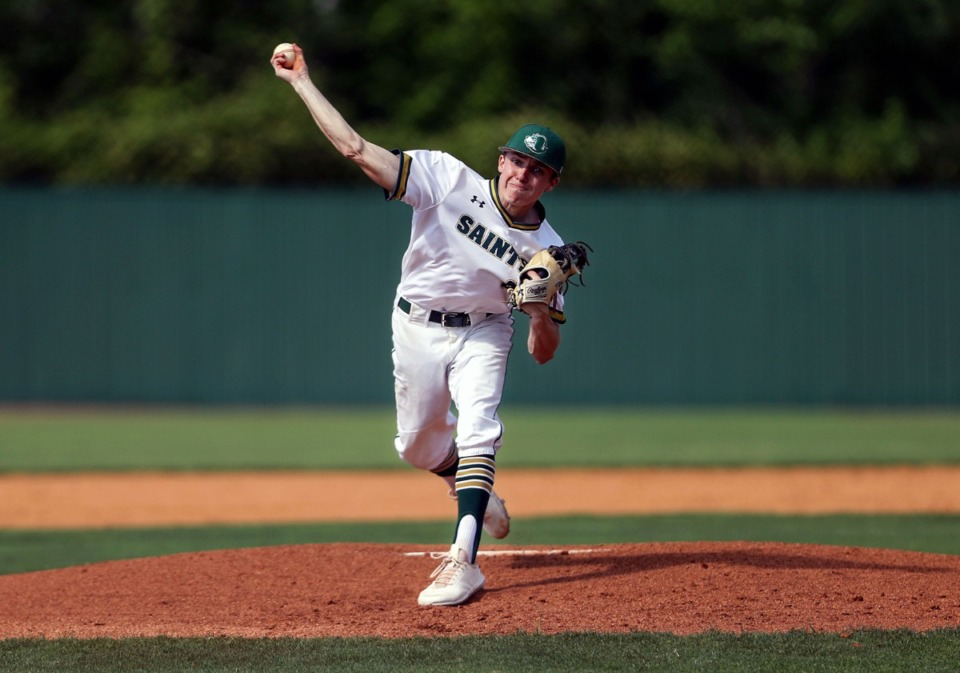 <strong>Briarcrest pitcher Mick Arney throws against St. Benedict on May 19.</strong> (Patrick Lantrip/Daily Memphian)