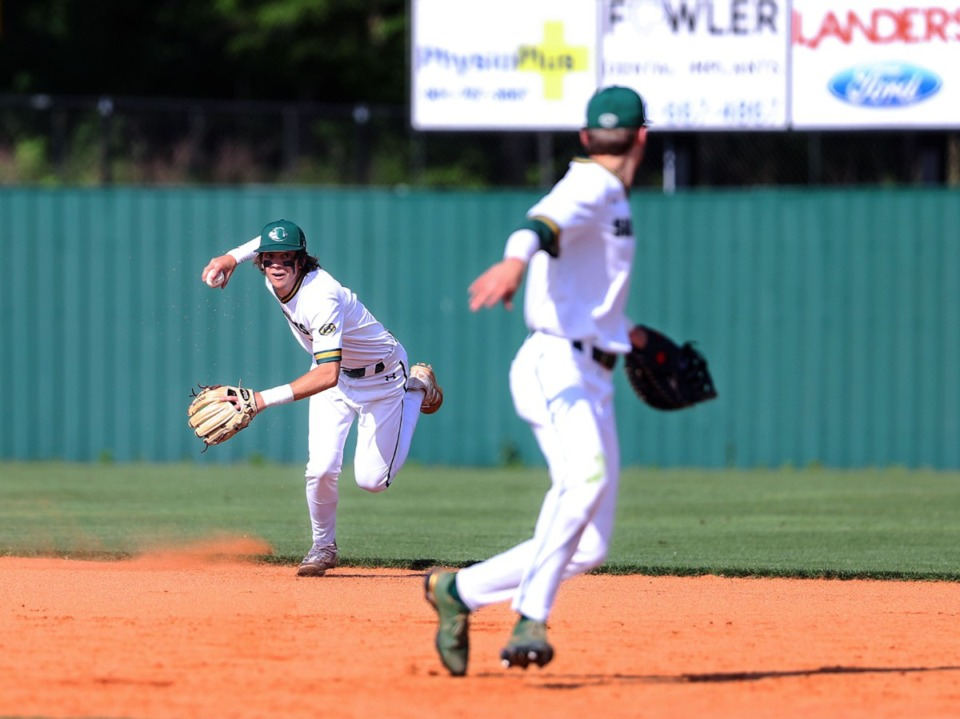 <strong>Briarcrest second baseman Peyton Moore makes a play to first on May 19 in the game against St. Benedict.</strong> (Patrick Lantrip/Daily Memphian)