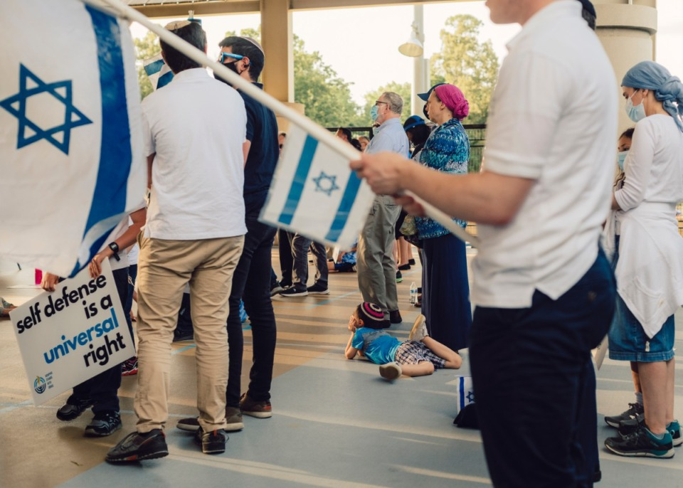 <strong>Israel supporters at the Memphis Jewish Community Center on Wednesday, May 19.</strong> (Houston Cofield/Special to The Daily Memphian)