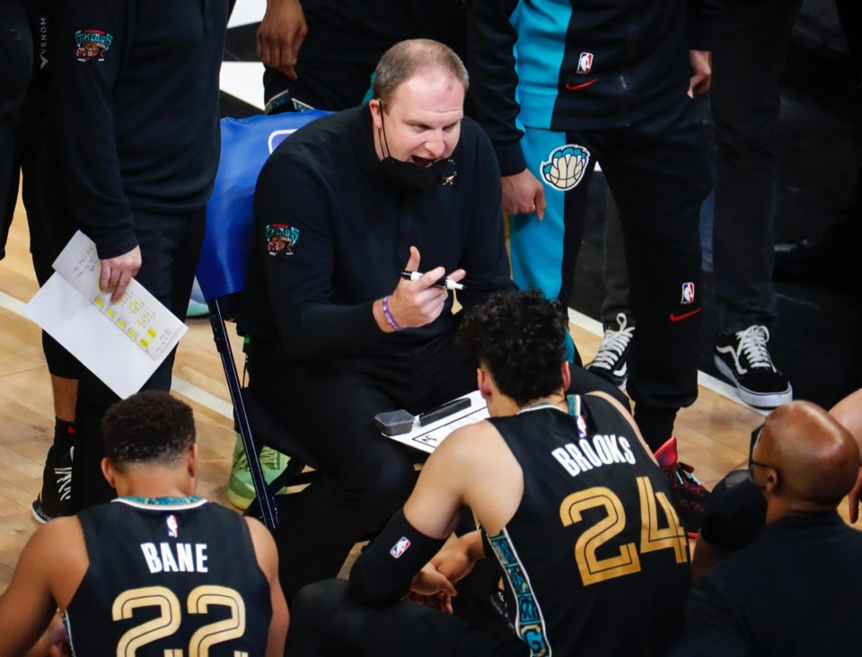 <strong>Grizzlies head coach Taylor Jenkins instructs his players during a timeout against San Antonio on May 19.</strong> (Mark Weber/The Daily Memphian)