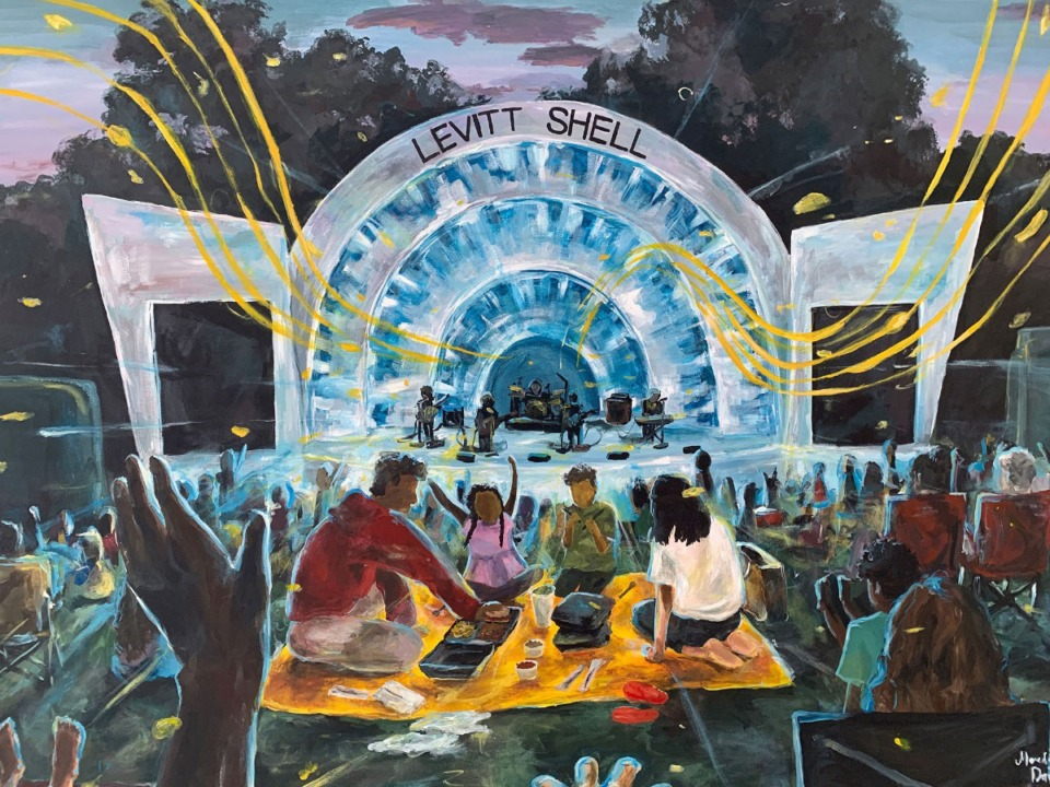 """<strong>Collierville sophomore Meredith Dai won first place in Memphis International Airport's """"Arts in the Airport"""" contest for """"A Levitt Picnic."""" The painting depicts a family enjoying a meal while listening to music at the Overton Park venue.</strong>"""
