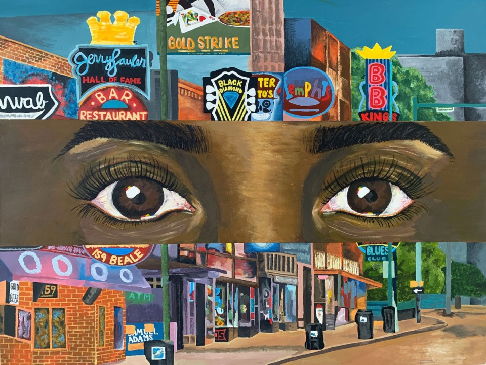 """<strong>Hannah Thomas, a Germantown High School Senior, painted a girl seeing Beale Street for the first time. """"Through Her Eyes"""" won second place in the airport's art competition.in Memphis International Airport's """"Arts in the Airport"""" contest</strong>"""