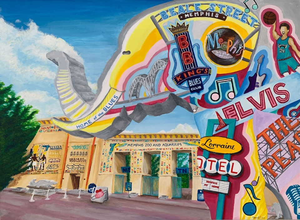 """<strong>""""Colors of Memphis"""" by Collierville sophomore Vibha Duraikkannan, won third place in Memphis International Airport's """"Arts in the Airport"""" contest. She drew inspiration from her trips to the Memphis Zoo over the years.</strong>"""