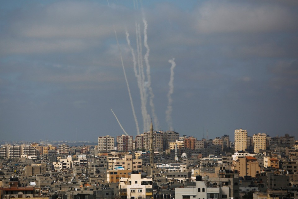 <strong>Rockets are launched from the Gaza Strip towards Israel, in Gaza City, Thursday, May 20, 2021.</strong> (Hatem Moussa/AP)