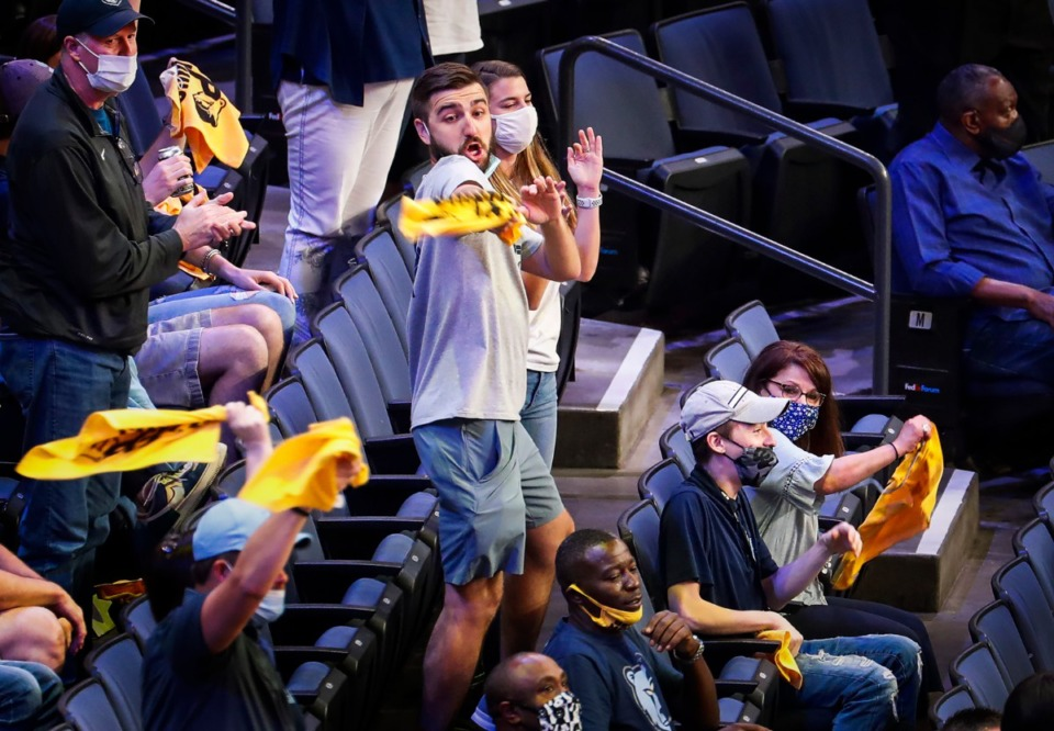 <strong>Grizzlies fan Randy Smith (middle) went viral for his dance moves during action against the San Antonio Spurs on Wednesday, May 19, 2021.</strong> (Mark Weber/The Daily Memphian)