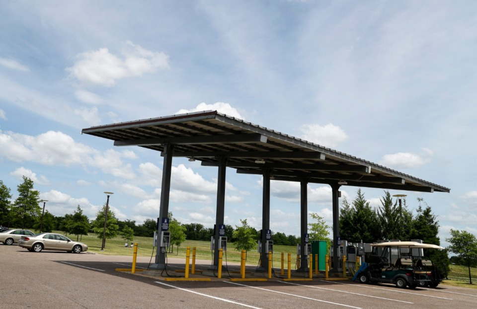 <strong>A charging station for electric cars stands ready at Shelby Farms.</strong> (Mark Weber/The Daily Memphian)