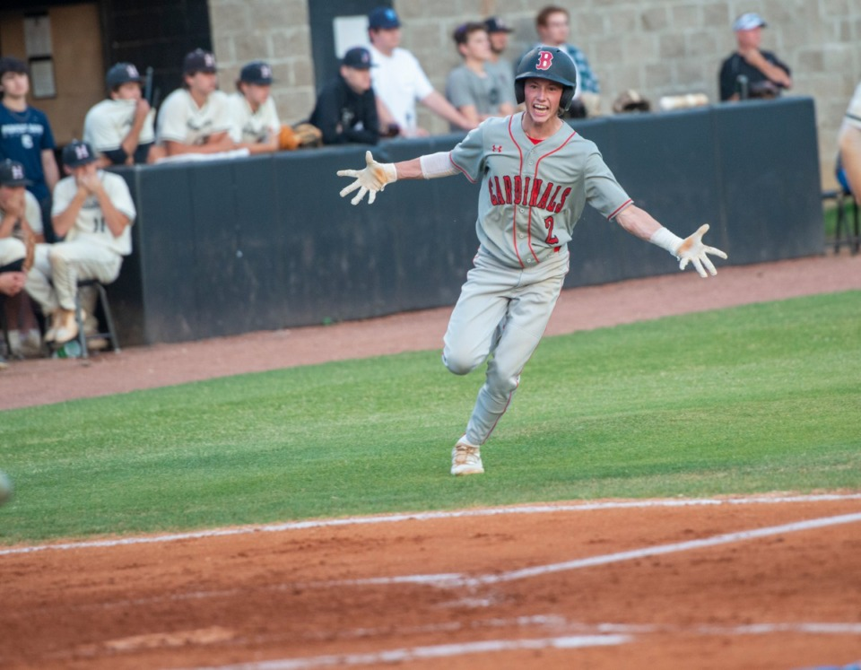 <strong>Brighton High School's Luke Olivette scores on a triple hit by Brighton pitcher Logan Rushing off Houston pitcher Miller Riggins in the third inning at Houston Friday, May 21, 2021.</strong> (Greg Campbell/Special to The Daily Memphian)