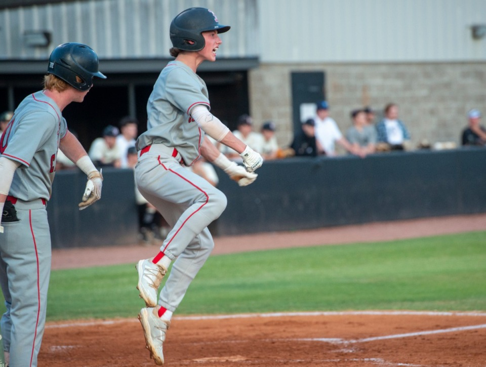 <strong>Brighton&rsquo;s Luke Olivette cheers his team after scoring on a triple off pitcher Logan Rushing at Houston High School Friday, May 21, 2021.</strong> (Greg Campbell/Special to The Daily Memphian)