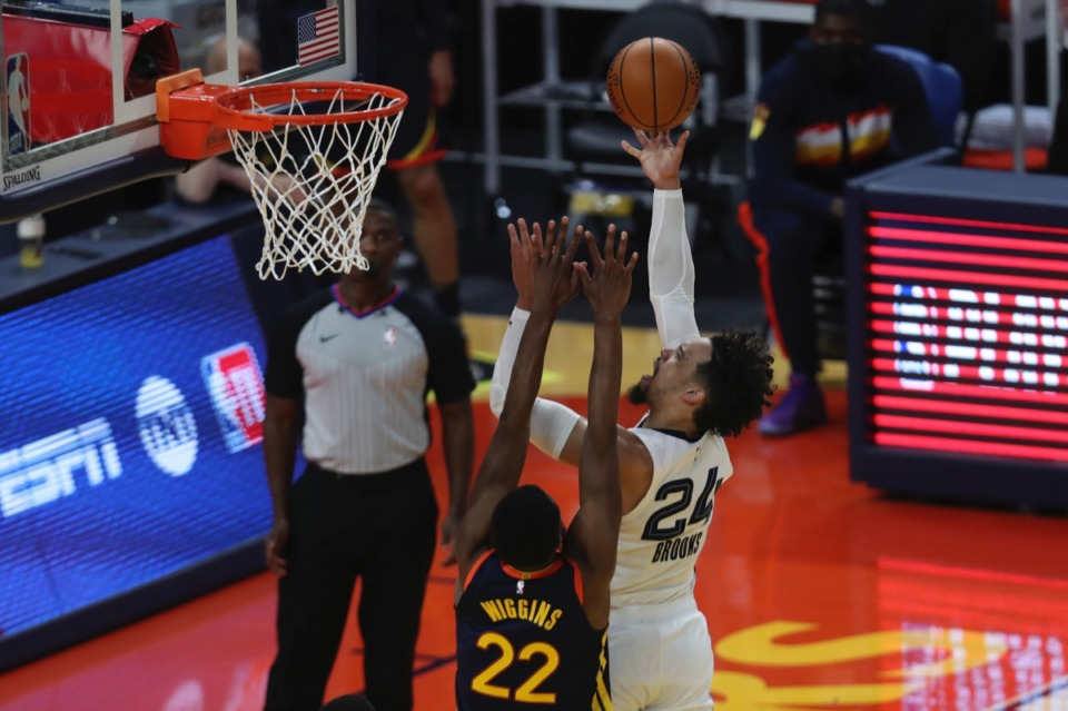 <strong>Dillon Brooks (24) shoots against Golden State&rsquo;s Andrew Wiggins (22) during the Western Conference play-in game in San Francisco Friday, May 21, 2021.</strong> (Jed Jacobsohn/AP)