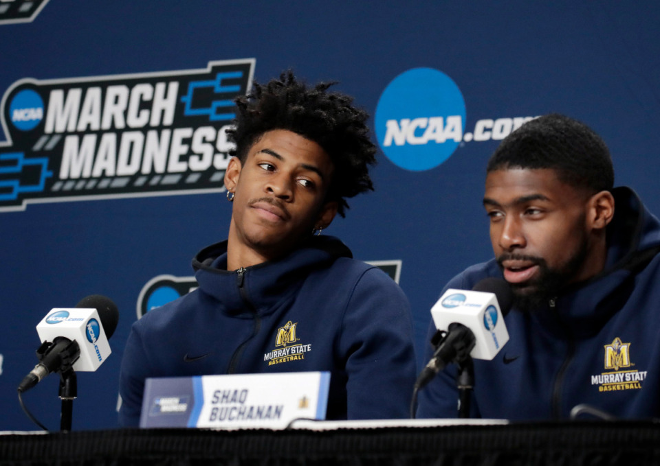 <strong> Shaq Buchanan (right) is one of Ja Morant&rsquo;s closet friends. They played college basketball together at Murray State.</strong> (AP Photo/Elise Amendola file)