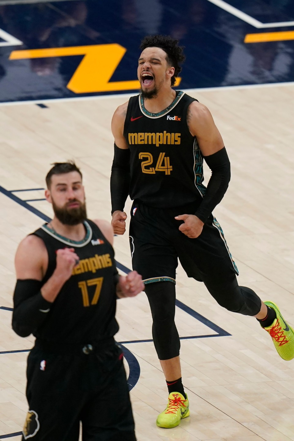 <strong>Memphis Grizzlies' Dillon Brooks (24) celebrates after scoring against the Utah Jazz during the second half of Game 1 of their NBA basketball first-round playoff series Sunday, May 23, 2021, in Salt Lake City.</strong> (Rick Bowmer/AP)