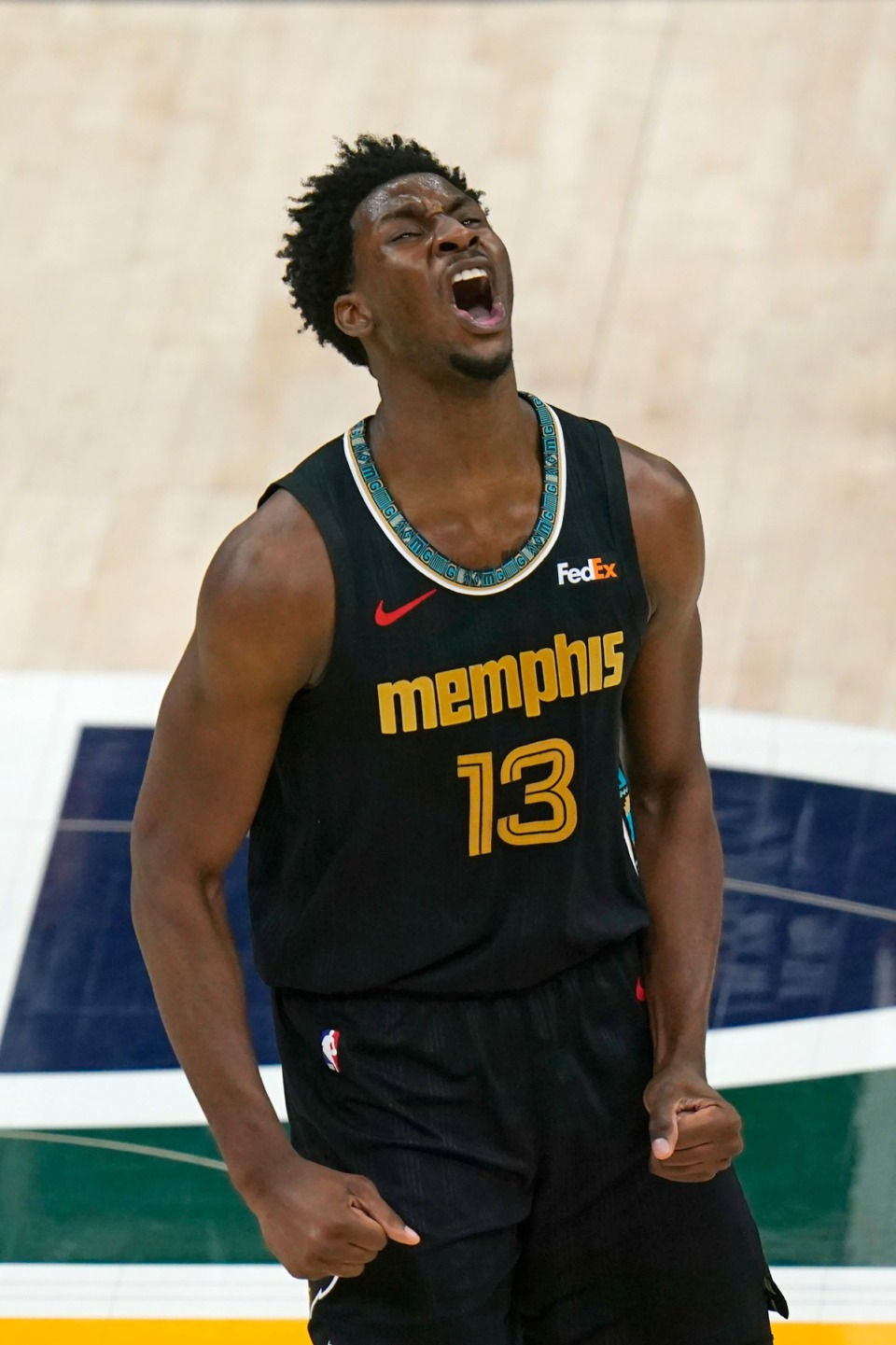 <strong>Memphis Grizzlies forward Jaren Jackson Jr. (13) celebrates after scoring against the Utah Jazz during the second half of Game 1 of their NBA basketball first-round playoff series Sunday, May 23, 2021, in Salt Lake City.</strong> (Rick Bowmer/AP)