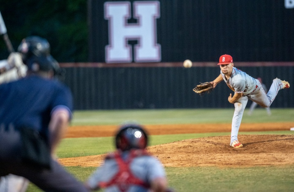 <strong>Brighton High School pitcher Logan Rushing pitches against Houston on May 21. The Memphis Tigers signee struck out 13.</strong> (Greg Campbell/Daily Memphian file)