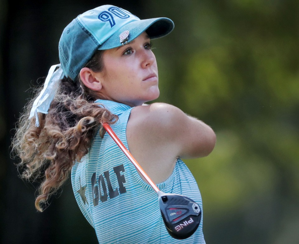 <strong>Rachel Heck drives off the tee during the Division 2 girls region golf tournament at Windyke on Sept. 19, 2019, in her St. Agnes days.</strong> (Jim Weber/Daily Memphian)
